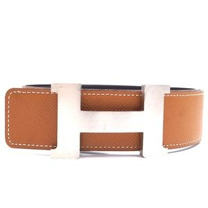 42mm Silver H Brushed Reversible Size 85 Belt
